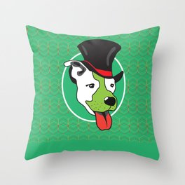 Dog with Tall Hat & Green Background Throw Pillow