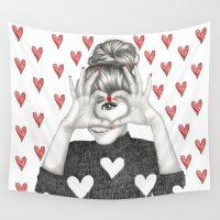 valentine Wall Tapestries featuring Valentine by Sara Elan Donati