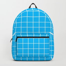 Capri - turquoise color - White Lines Grid Pattern Backpack