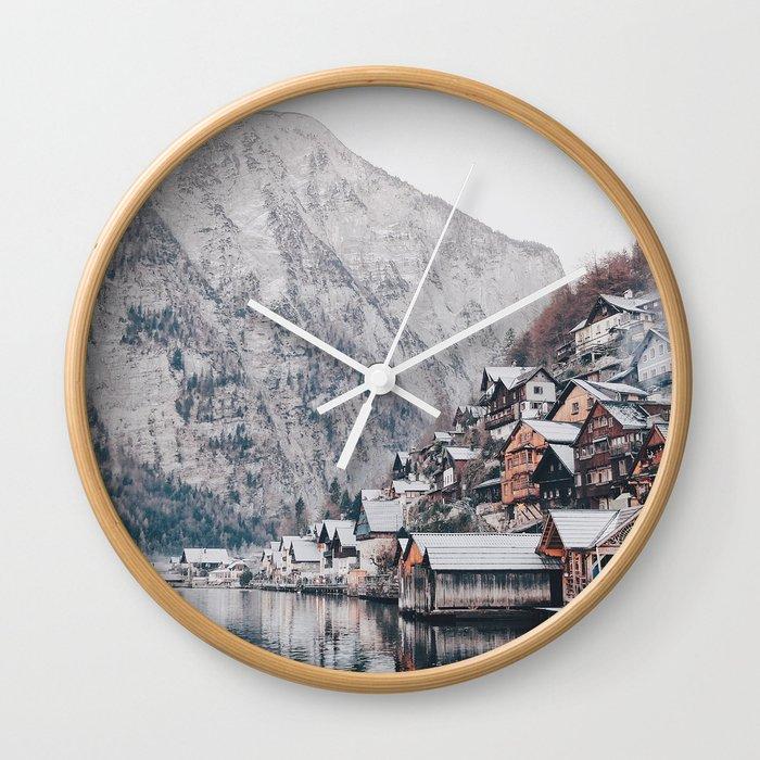 VILLAGE - COAST - MOUNTAINS - SNOW - PHOTOGRAPHY Wall Clock