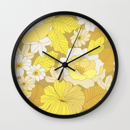Yellow, Ivory & Brown Retro Flowers Wall Clock