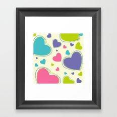 Cute Playful Hearts Pattern Framed Art Print