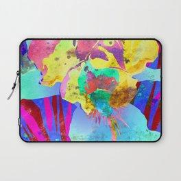 Fluorescent Watercolor Iris Art - Purple & Aqua Blue Laptop Sleeve