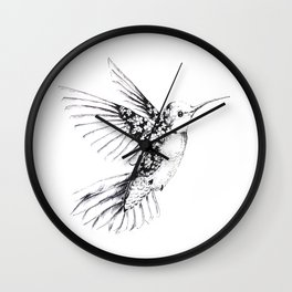 Floral Humming Bird Sticker Wall Clock