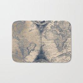 Antique World Map White Gold Navy Blue by Nature Magick Bath Mat