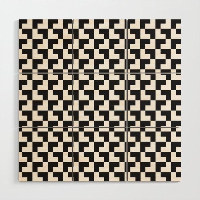 Black and White Tessellation Pattern - Graphic Design Wood Wall Art