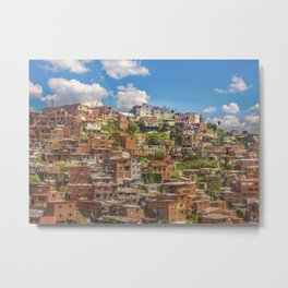Favelas at Hill, Medellin, Colombia Metal Print