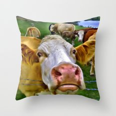 There's one in every crowd . . . Cow Photobomber Throw Pillow