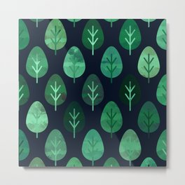 Watercolor Forest Pattern #9 Metal Print