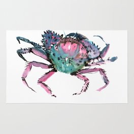 Crab Turquoise Blue Pink Crab Design Rug