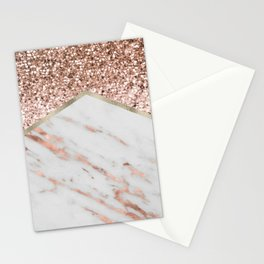 Shimmering rose gold with rose gold marble Stationery Cards