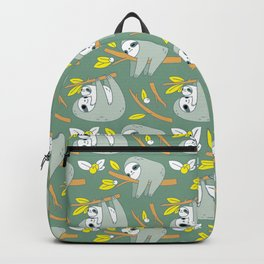 Sloth pattern in green Backpack