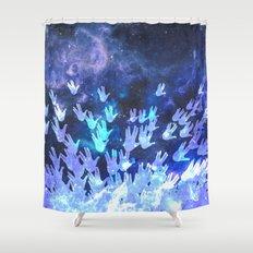 H.E.L.L.O. / blue version Shower Curtain