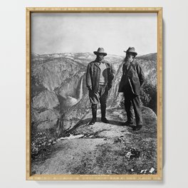 Teddy Roosevelt and John Muir - Glacier Point Yosemite Valley - 1903 Serving Tray