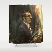 alicexz Shower Curtains featuring The Abyss Gazes Back by Alice X. Zhang