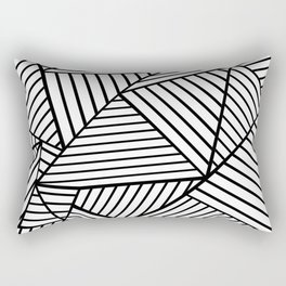 Abstraction Lines Close Up Black and White Rectangular Pillow