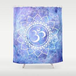 Om Mandala Lavender Periwinkle Blue Galaxy Space Shower Curtain