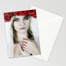 woman with a rose crown Stationery Cards
