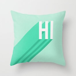 Hi - Long Shadow Retro Typography in Mint Green Throw Pillow
