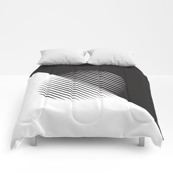 Black And White Ball Of Stripes Comforters