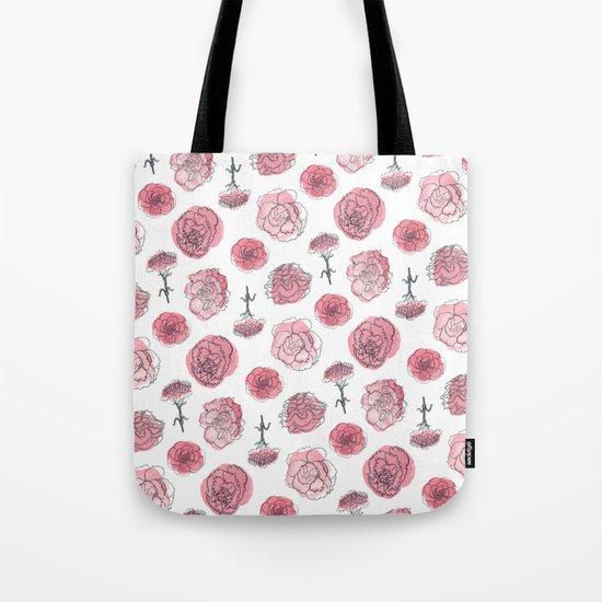 Pink Carnation Pattern Tote Bag