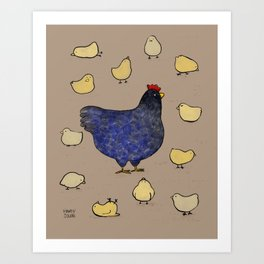 Mama Chicken and her babies Kunstdrucke