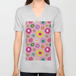 60's Daisy Crazy in Mod Pink Unisex V-Neck