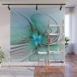 Abstract With Blue 2, Fractal Art Wall Mural
