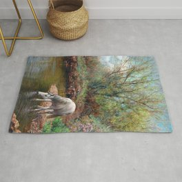 Beautiful White Horse and Enchanting Spring Rug