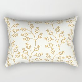 Golden floral pattern on cream Rectangular Pillow