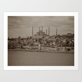 """Sultan Ahmed Mosque (""""Blue Mosque"""", Istanbul, TURKEY) from the Sea of Marmara Art Print"""