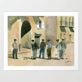 The Game of Pétanque Art Print