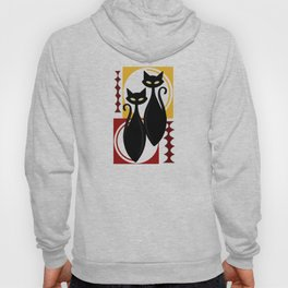Devilishly Delightful Atomic Age Black Kitschy Cats Hoody