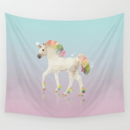 Colorful Unicorn Low Poly Polygonal Illustration Wall Tapestry