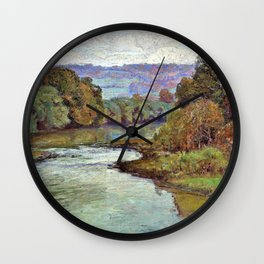 The River - Theodore Clement Steele Wall Clock