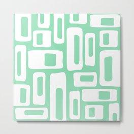 Retro Mid Century Modern Abstract Pattern 335 Mint Green Metal Print