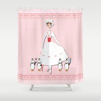 mary poppins Shower Curtains featuring Mary Poppins by AmadeuxArt