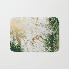 gold marble texture with palm trees Bath Mat