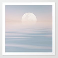 Moon and calm waters Art Print