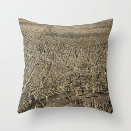 Vintage Pictorial Map of Newark NJ (1874) Throw Pillow
