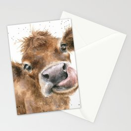 Face baby cattle Stationery Cards