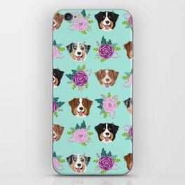Australian Shepherd dog breed dog faces cute floral dog pattern iPhone Skin