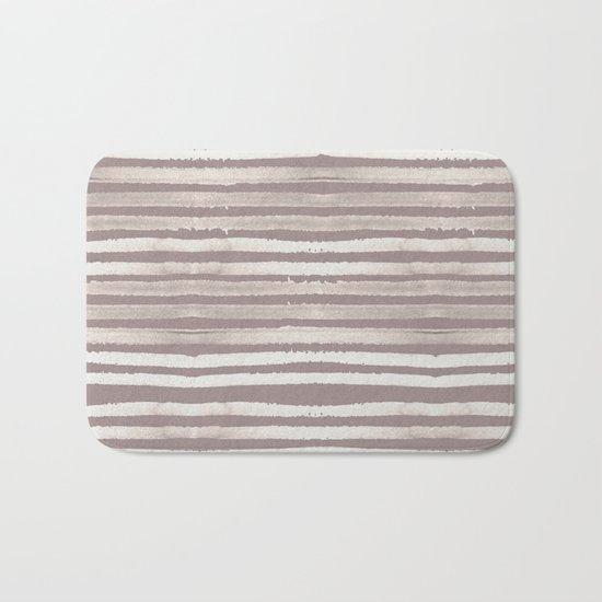Simply Shibori Stripes Lunar Gray and Red Earth Bath Mat