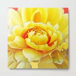Yellow Rose Western Style Abstract Art Metal Print