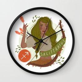 Sagittarius Zodiac Illustration Wall Clock