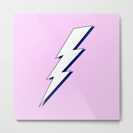 Just Me and My Shadow Lightning Bolt - Pink White Blue Metal Print