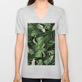 Tropical Jungle Night Leaves Pattern #5 #tropical #decor #art #society6 Unisex V-Neck