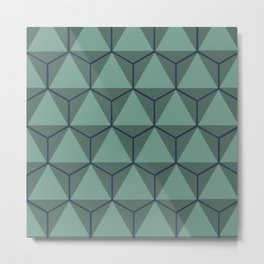 Blue and Green, Triangle and Hexagon Pattern Metal Print
