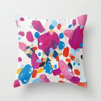physics Throw Pillows featuring Fuchsia Physics by Emily Rickard