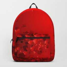 Postcard of red diamonds on a bloody background with love. Backpack